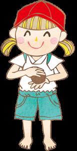 泥だんごを作る女の子イラスト